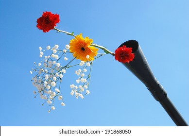 MOSCOW - MAY 09, 2014: Live flowers stick out of a gun barrel. Victory Day celebration in Moscow.