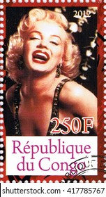 MOSCOW - MAY 09, 2016: A stamp printed in Republic of the Congo depicting an image of legendary Hollywood actress Marilyn Monroe, circa 2012