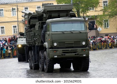 MOSCOW - MAY 09, 2017: Military equipment drive on the streets of Moscow after military parade on the Red Square. Victory Day celebration in Moscow, in Gorky park. Color photo.