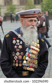 MOSCOW - MAY 09: Celebration of the 67 anniversary of the Victory Day (WWII) on Red Square on May 9, 2012 in Moscow, Russia. Veteran of the WWII on the Red Square
