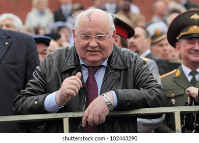 MOSCOW - MAY 09: Celebration of the 67th anniversary of the Victory Day (WWII) on Red Square on May 9, 2012 in Moscow, Russia. The President of the USSR Mikhail Gorbachev on the podium