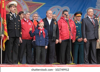 MOSCOW - MAY 09: Gennady Zyuganov at the meeting of the Communist party of the Russian Federation on Lubyanka Square on May 9, 2012 in Moscow, Russia.