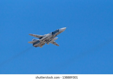 "MOSCOW - MAY 09: Su-24 ""Fencer"" frontline bomber flies during the parade in honor of WWII Victory on May 09, 2013 in Moscow, Russia"
