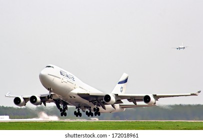 MOSCOW - MAY 10, 2013: El Al Boeing 747 takes off Domodedovo International Airport.