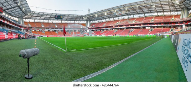 MOSCOW - MAY 11, 2016: Panoramic view of the Lokomotiv stadium before the soccer game Russian Premier League Lokomotiv (Moscow) vs Kuban (Krasnodar), the stadium Lokomotiv Moscow, Russia
