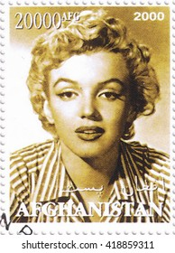 MOSCOW - MAY 11, 2016: A stamp printed in Afghanistan depicting an image of legendary Hollywood actress Marilyn Monroe, circa 2000