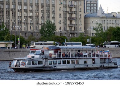 MOSCOW – MAY 12, 2018: Navigation season-2018 opening in Gorky park, Moscow. Parade of ships. Free entrance public event.