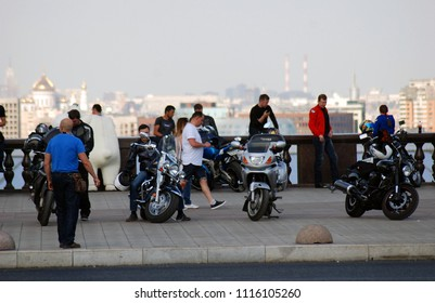 MOSCOW - MAY 13, 2018: Bikers meeting on Vorobyovy gory in Moscow, popular landmark.