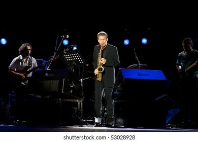 "MOSCOW - MAY 13: Saxophonist David Sanborn and ""Trans-Anlantic"" Band in the Concert hall ""Crocus City Hall"" on May 13, 2010 in Moscow, Russia"