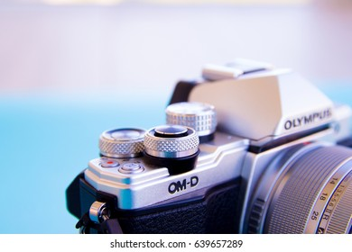 MOSCOW - May 14, 2017 : camera Olympus om-d 10 Mark ii, selective focus, advertising photography, space for text Editorial image