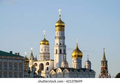 MOSCOW - MAY 14: An amazing spring sunset over the churches of the Moscow Kremlin on May 14. 2016 in Russia