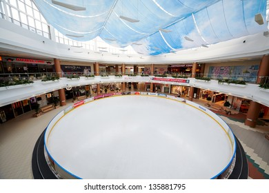 MOSCOW - MAY 14: Ice rink in shopping and entertainment center Golden Babylon, May 14, 2012, Moscow, Russia. Goldem Baylon - largest urban shopping and entertainment center in Europe.
