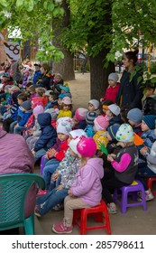 MOSCOW - MAY 15, 2015: children sporting event in nursery school