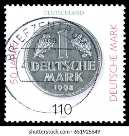 MOSCOW, May 15, 2017: GERMANY - CIRCA 1998: a stamp printed in the Germany shows Deutsche Mark, 50th Anniversary, circa 1998