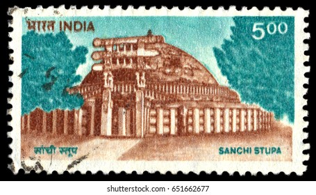 MOSCOW, May 15, 2017: INDIA - CIRCA 1994: a stamp printed in India shows Sanchi Stupa, Oldest Stone Structure in India, Buddhist Monument, circa 1994
