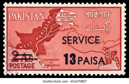 MOSCOW, May 15, 2017: A Pakistani stamp from 1960 showing Jammu and Kashmir's status as 'not yet determined'.