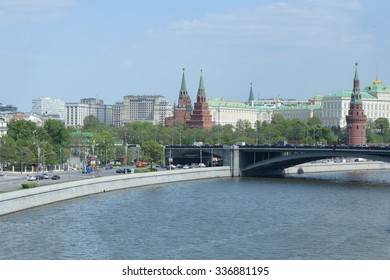 MOSCOW, - MAY 15: Moscow. View of the Kremlin, the Great Stone Bridge and the Moscow River MAY 15, 2015 in Moscow, Russia