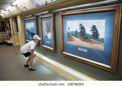 """MOSCOW - MAY 16: """"Aquarelle&quo t; subway train with a new collection of masterpieces by watercolor artists from the Russian Museum set out from Mitino station, May 12, 2013 in Moscow, Russia."""