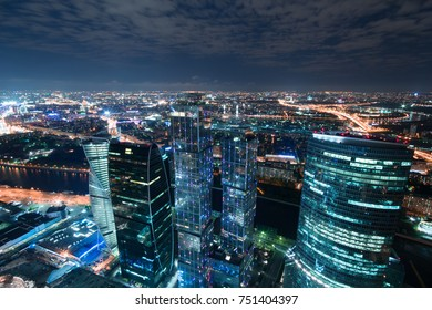 MOSCOW - MAY 17, 2014: Futuristic Moscow International Business Center at night. Years of construction of complex - 1995-2018