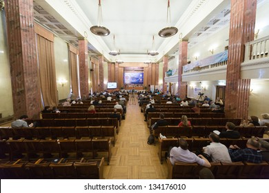 MOSCOW - MAY 17: Half-empty hall of First Federal Congress on e-democracy in Russian State Library on May 17, 2012 in Moscow, Russia.