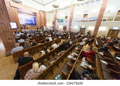 MOSCOW - MAY 17: Side view of the First Federal Congress on e-democracy in Russian State Library on May 17, 2012 in Moscow, Russia.
