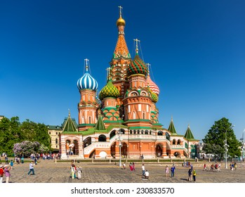 MOSCOW - MAY 18, 2014: The Cathedral of Vasily the Blessed. A world famous landmark.