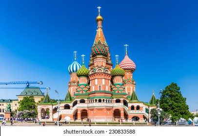 MOSCOW - MAY 18, 2014: The Cathedral of Vasily the Blessed. This is a world famous landmark.