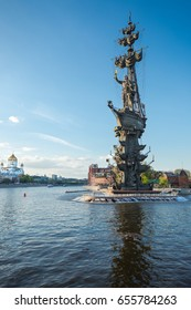 MOSCOW - May 18, 2017: Monument to Peter the Great (Peter First) in Moscow, architect Zurab Tseretely. Color photo. Blue sky with clouds background.