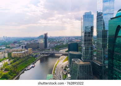 MOSCOW - May 20, 2017: Aerial view of Moscow-City (Moscow International Business Center) over Moskva River. Moscow-City is a modern commercial district in central Moscow.