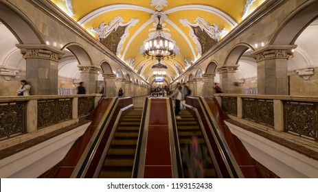 MOSCOW - MAY, 2018: Komsomolskaya subway station with people. One of the most famous Metro stations in the world. The Moscow subway opened in 1938.