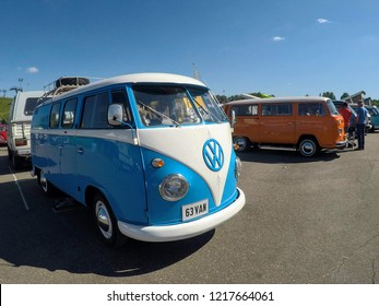 Moscow. May 2018. Volkswagen & Audi festival. Vagburg festival. Blue and white Volkswagen Transporter T1. Blue sky background