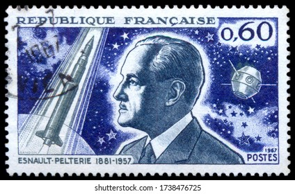 MOSCOW, may 21, 2020: a stamp printed in France shows Robert Esnault-Pelterie, was a pioneering French aircraft designer and spaceflight theorist, circa 1967