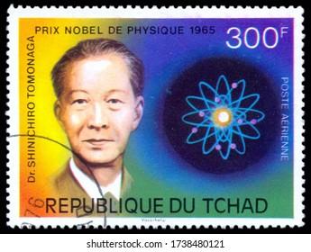 MOSCOW, May 21, 2020:  A stamp printed in CHAD shows Dr. Shinichiro Tomonaga, Physics Nobel Laureate, circa 1965