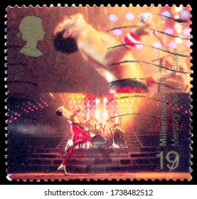 MOSCOW, May 21, 2020:  A stamp printed in United Kingdom showing an image of Freddie Mercury from Queen band, circa 1999.