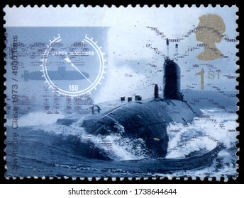 MOSCOW, may 21, 2020: A stamp printed by UNITED KINGDOM shows view of British Swiftsure Class nuclear power submarine, 1973.