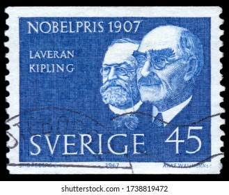 MOSCOW, may 21, 2020: a stamp printed in the Sweden shows Laveran and Kipling, winners of the 1907 Nobel Prize, circa 1967