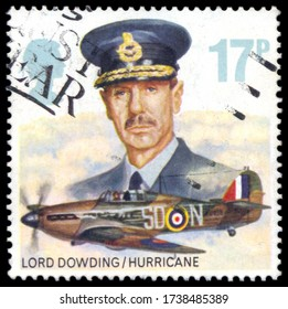 MOSCOW, May 21, 2020: A used postage stamp from the UK, depicting an illustration of Lord Dowding and Hawker Hurricane Mk I, circa 1986.