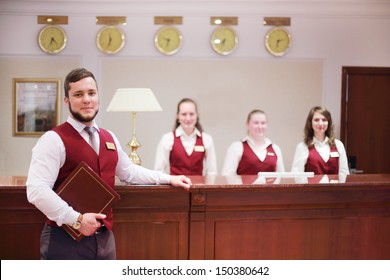 MOSCOW - MAY 22: Receptionists at counter for guests in Bogorodino hotel, on May 22, 2013 in Moscow, Russia. Four-star Borodino hotel was built in 2007.