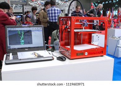 Moscow - May 26, 2018: 3d printer prints dragon figure at the international exhibition of  the helicopter industry, HeliRussia. Public-event.