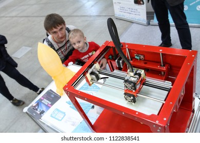 Moscow - May 26, 2018: 3d printer at the international exhibition of  the helicopter industry, HeliRussia. Public-event.