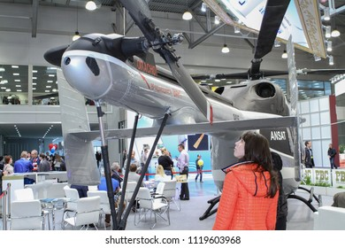Moscow - May 26, 2018: Ansat Helicopter at the international exhibition of  the helicopter industry, HeliRussia. Public-event.