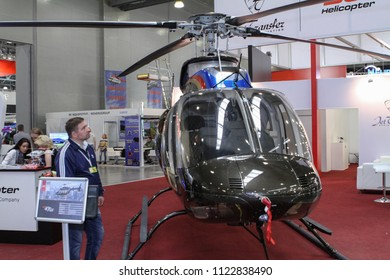 Moscow - May 26, 2018: Bell 407 GX focus on the helicopter at the international exhibition of  the helicopter industry, HeliRussia. Public-event.