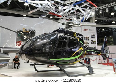 Moscow - May 26, 2018: Black helicopter at the international exhibition of  the helicopter industry, HeliRussia. Public-event.
