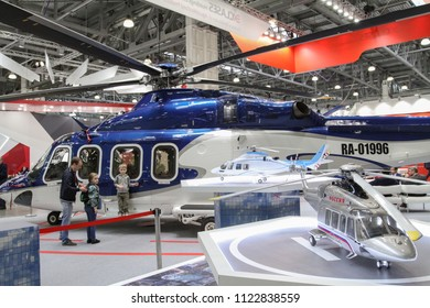 Moscow - May 26, 2018: Helicopter AW139 at the international exhibition of  the helicopter industry, HeliRussia. Public-event.