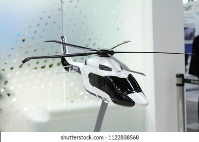 Moscow - May 26, 2018: Helicopter H160 model at the international exhibition of  the helicopter industry, HeliRussia. Public-event.