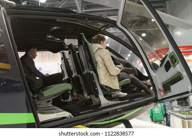 Moscow - May 26, 2018: Helicopter cabin at the international exhibition of  the helicopter industry, HeliRussia. Public-event.