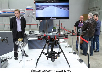 Moscow - May 26, 2018: Multicopter RHM-12 at the international exhibition of  the helicopter industry, HeliRussia. Public-event.