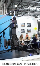 Moscow - May 26, 2018: Ultralight Mikron aircraft at the international exhibition of  the helicopter industry, HeliRussia. Public-event.