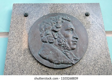 MOSCOW - MAY 27, 2018: Memorial house museum of Russian poet and writer Alexander Pushkin on Old Arbat street in Moscow. Popular landmark.