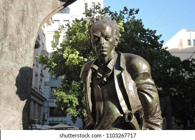 MOSCOW - MAY 27, 2018: Monument to musician, singer, poet Bulat Okudzhava on Old Arbat street in Moscow. Popular landmark.
